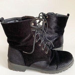 My Style Velvet Textured Black Boots Size 10